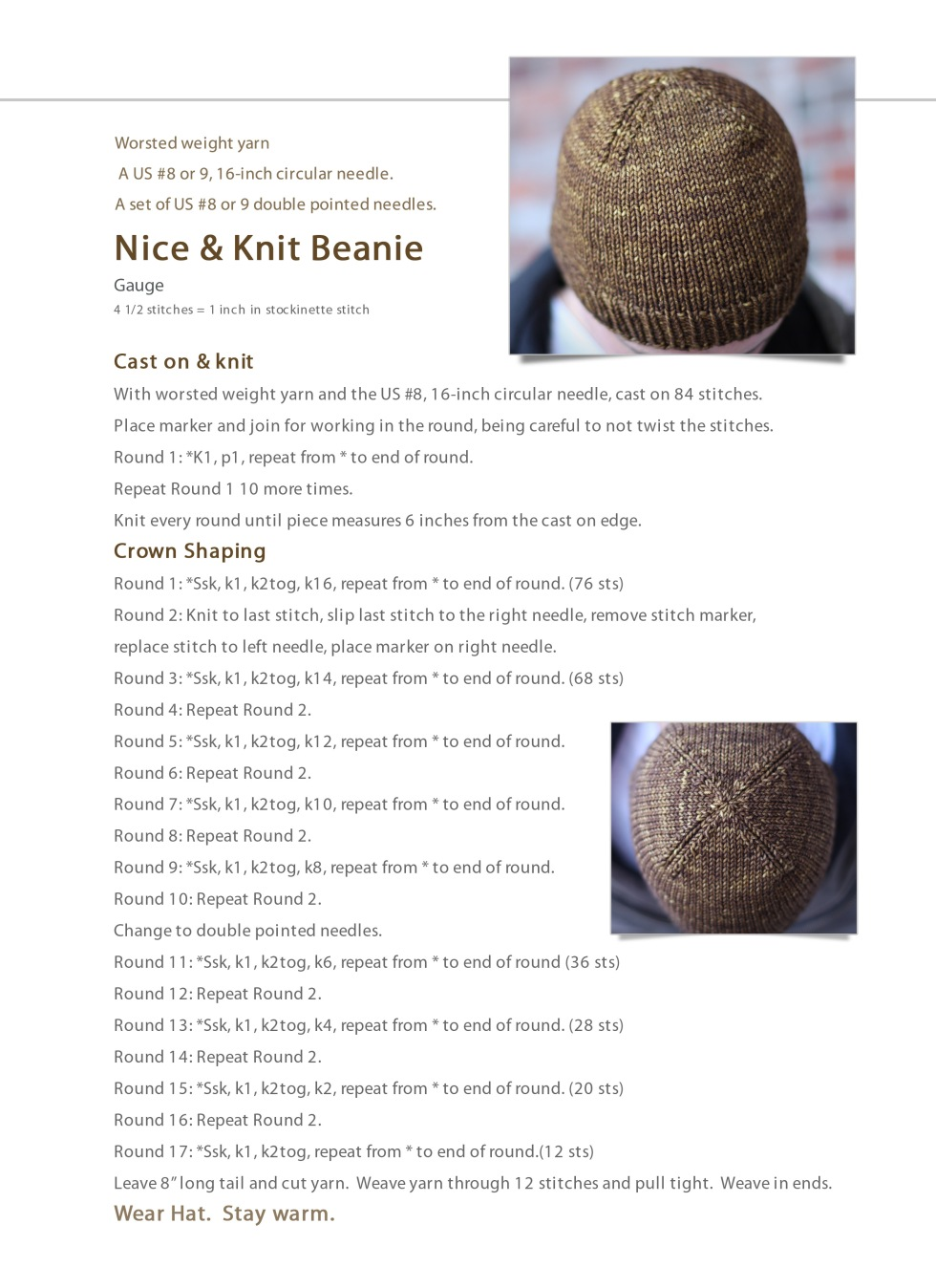 Knitting Patterns For Hats Using Circular Needles : Nice & Knit Beanie: Free Hat Pattern Nice and Knit