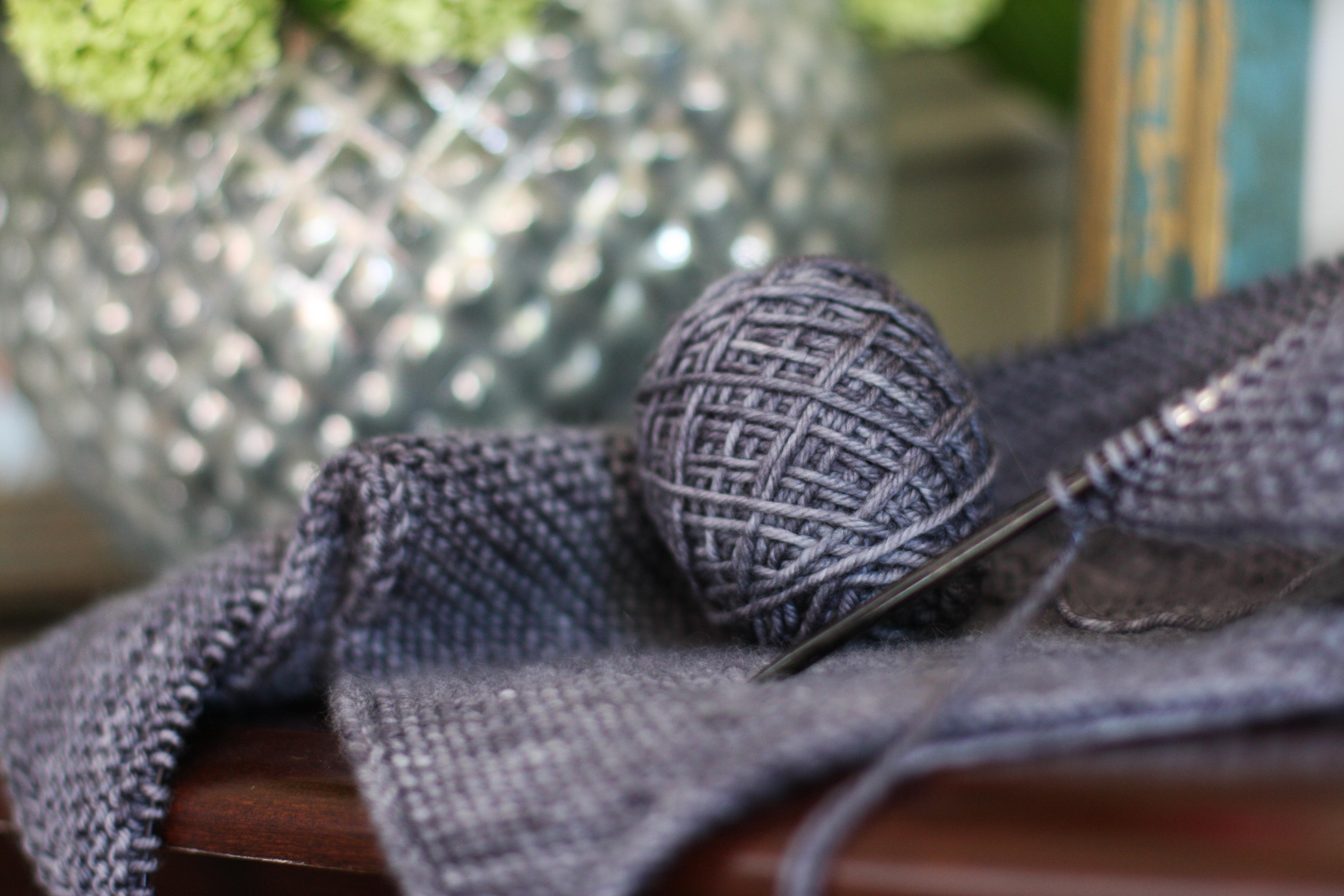 WIP: Purl Soho – Laura\'s Loop: Colorblock Bias Blanket | Nice and Knit